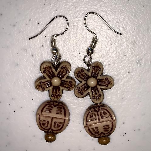 Tan Floral Earrings