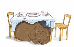 Sleepy hidden bear