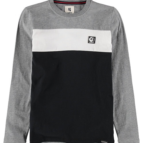 T-shirt tricolore gris Garcia