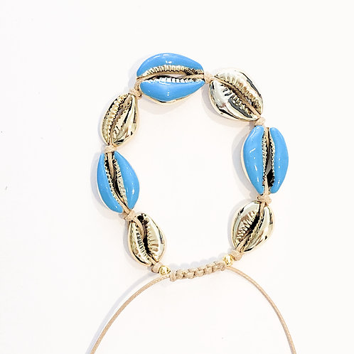 Bracelet coquillage laque bleu