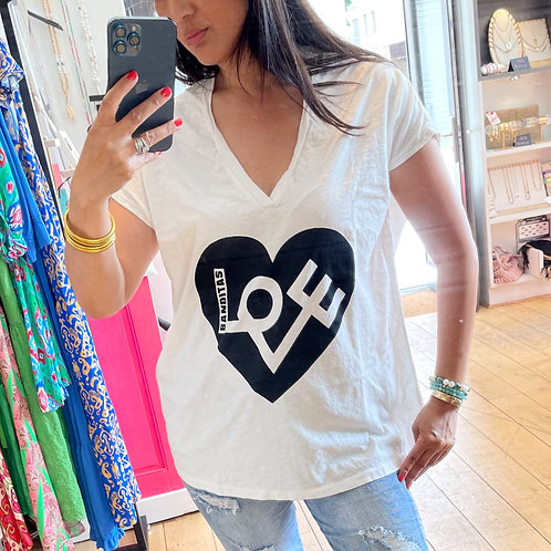 t-shirt love blanc banditas