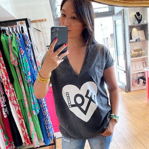t-shirt love gris banditas