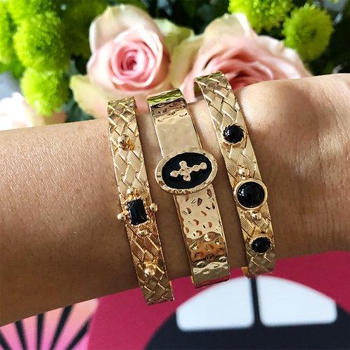 Bracelets Joncs Collection doré et noir