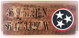Wood Coordinates Sign
