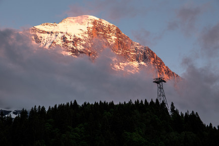 Mount Eiger's North Face at Sunset