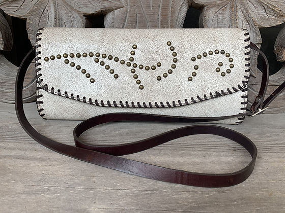 Ivory Marble Leather + Brass Stud Clutch Bag | Juan Antonio