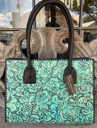 Turquoise + Black Hand-Tooled Leather Tote | Juan Antonio