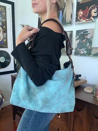 Turquoise Italian Nubuck Bison Shoulder Bag | Juan Antonio