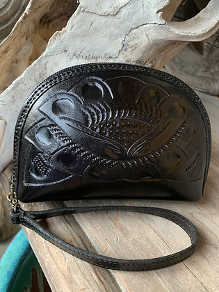 Hand-Tooled Leather Wristlet
