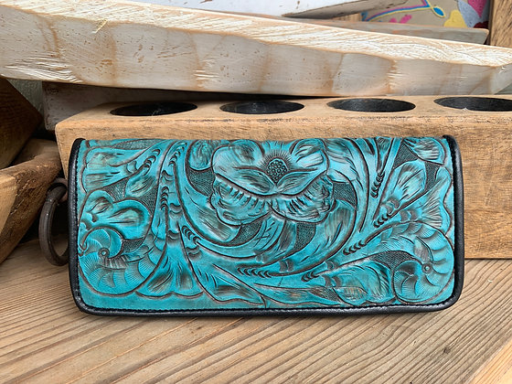 Turquoise/Black Hand-Tooled Leather Wallet by Juan Antonio