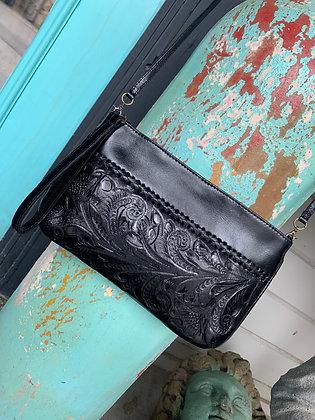 The Daniela | Hand-Tooled Leather Crossbody/Wristlet