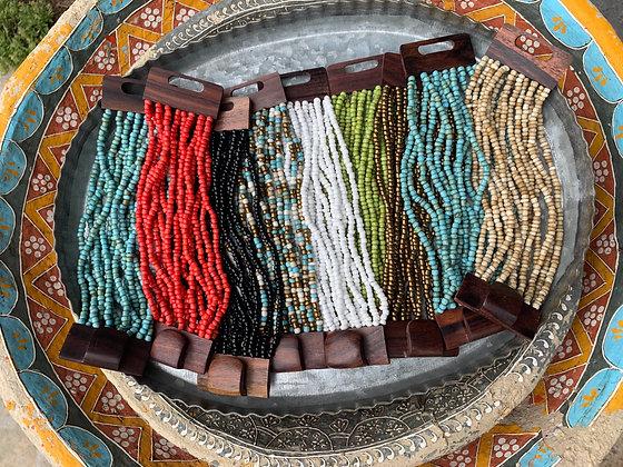 African Beaded Bracelet w/ Wooden Clasp