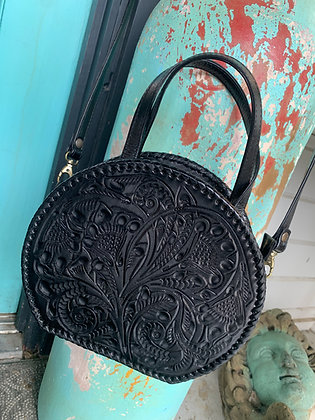 The Luna | Hand-Tooled Leather Circle Crossbody Bag