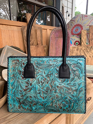Turquoise/Black Hand-Tooled Leather Purse by Juan Antonio