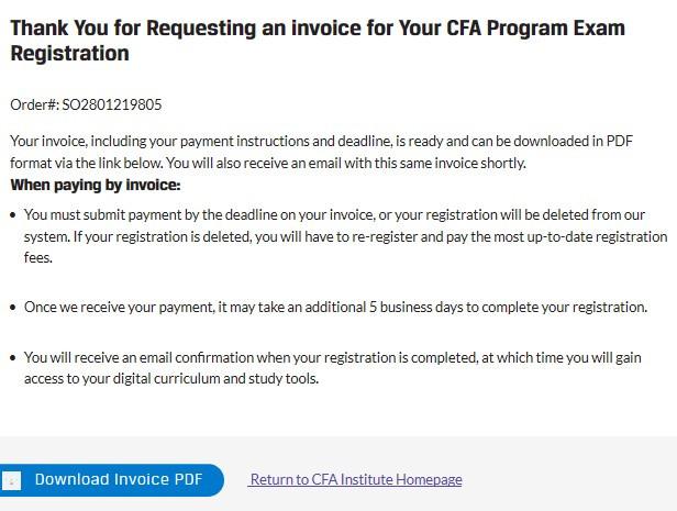 Thanh toán lệ phí thi CFA bằng chuyển khoản