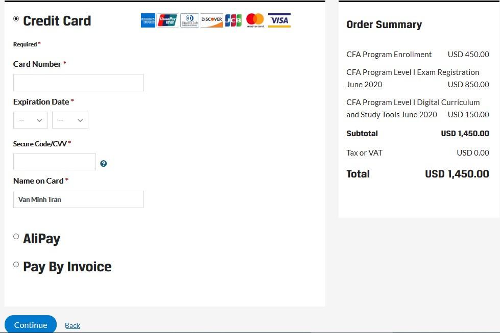 cách thanh toán lệ phí bằng thẻ Visa