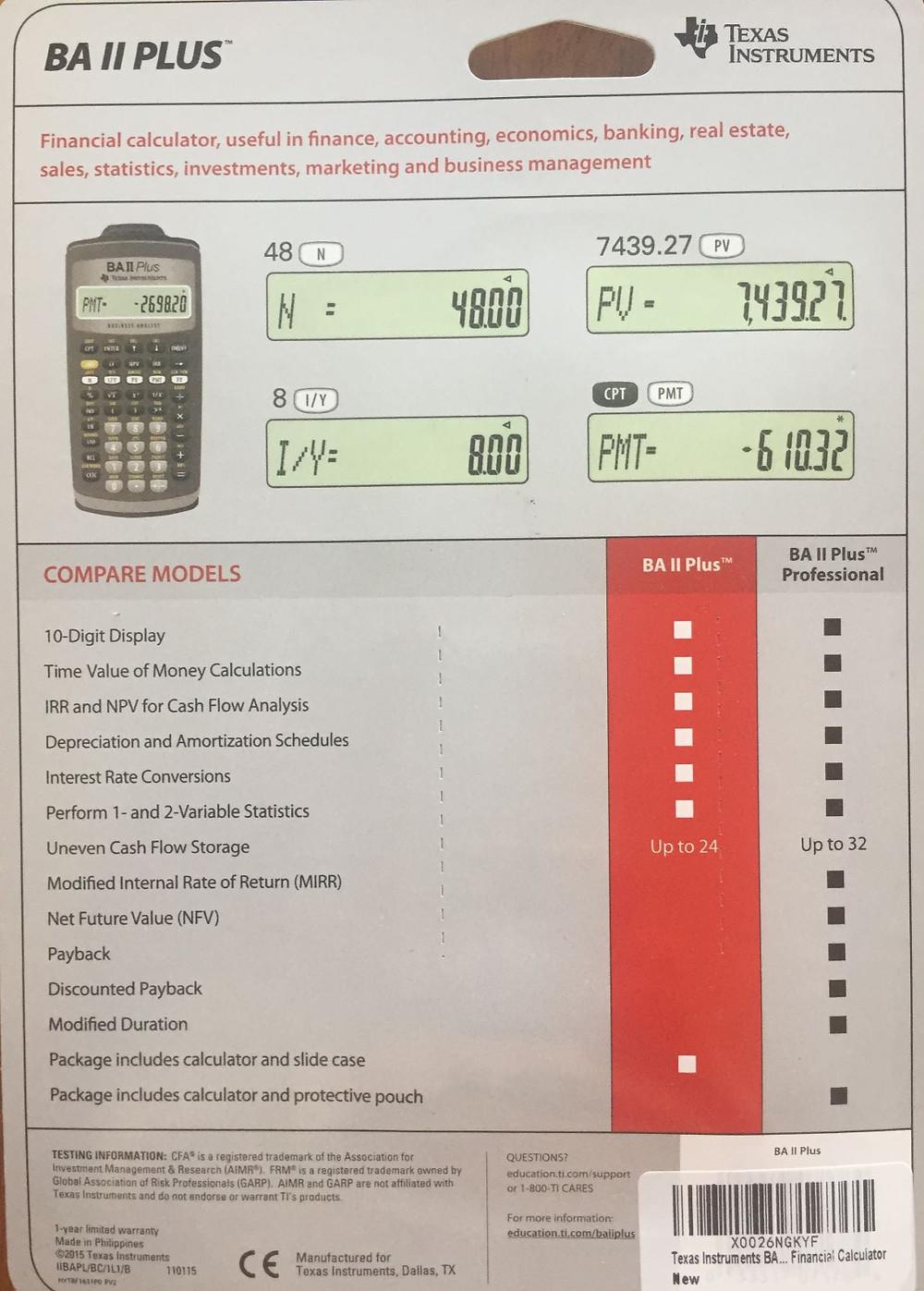 so sánh máy TI BA II Plus và Pro