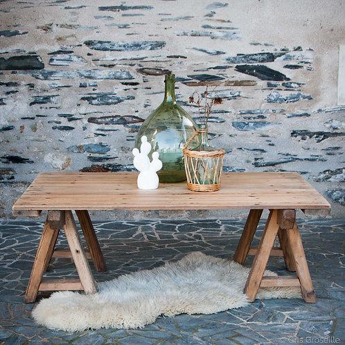 table basse bois et tréteaux - Gris groseille déco industrielle Angers 49