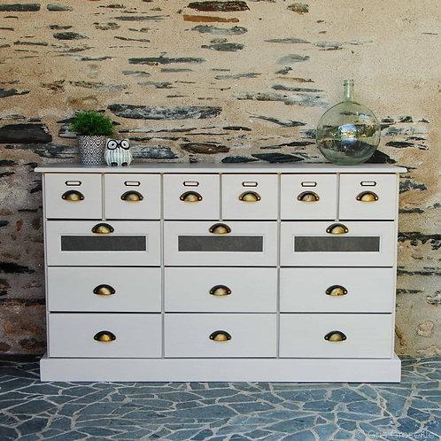 Grainetier à tiroirs blanc - Gris Groseille boutique meubles patinés Angers Mazé
