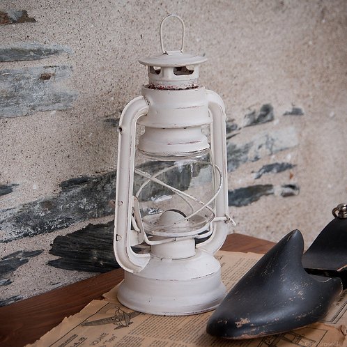 LAMPE TEMPÊTE BLANCHE EN MÉTAL