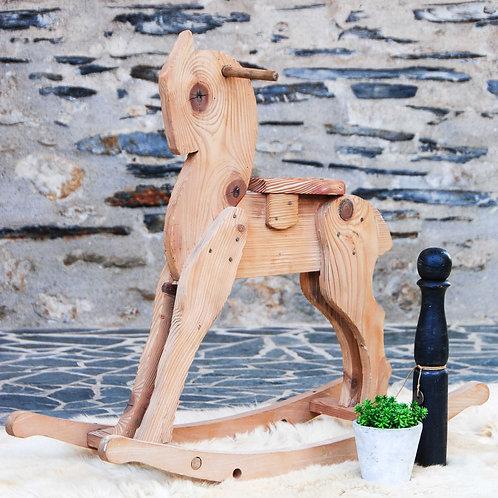 Cheval à bascule ancien - Gris Groseille brocante en ligne Angers 49