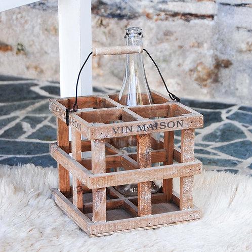 Panier à bouteille en bois - Gris Groseille boutique rustic chic