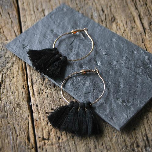 Boucle d'oreilles pompons noirs- Gris Groseille bijoux fantaisies tendances Angers 49