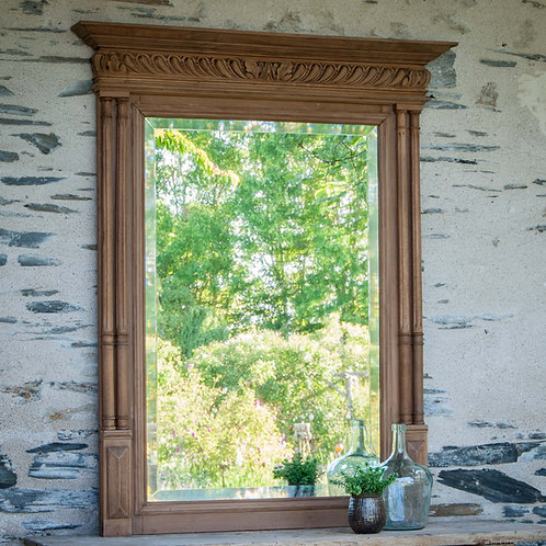 Ancien  miroir à colonnes en bois style Henri II - Gris Groseille shopping brocante Angers 49