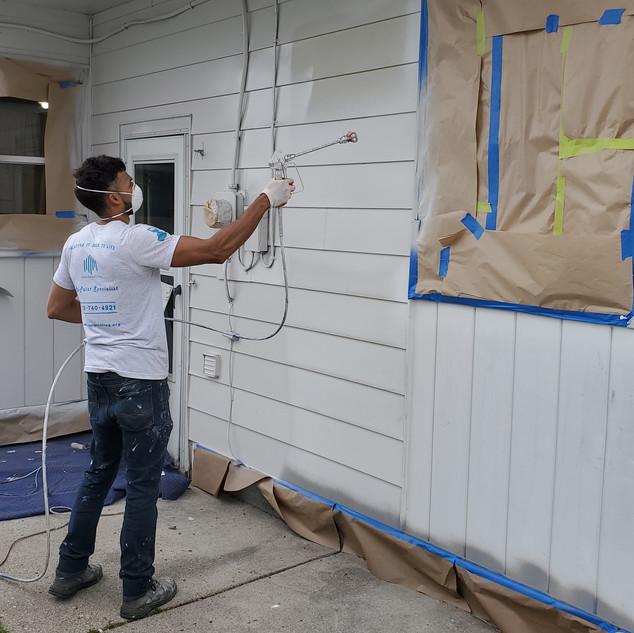 Spraying a house
