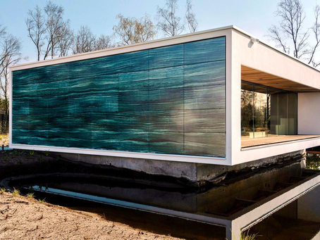Eco-friendly sauna resort in southern Netherlands features appealing marble-like solar facade