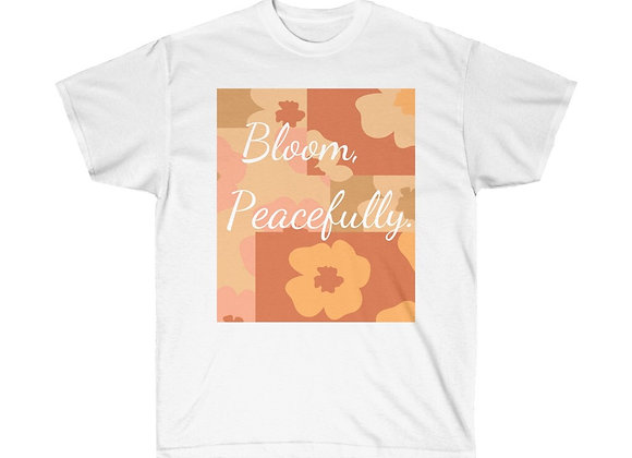 """Bloom, Peacefully"" Unisex Cotton Tee"