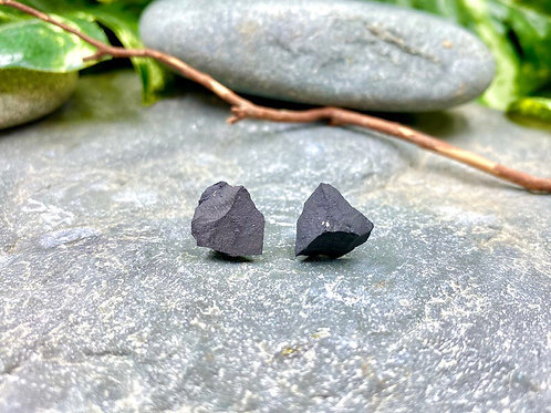 Black Shungite Stone Stud Earrings