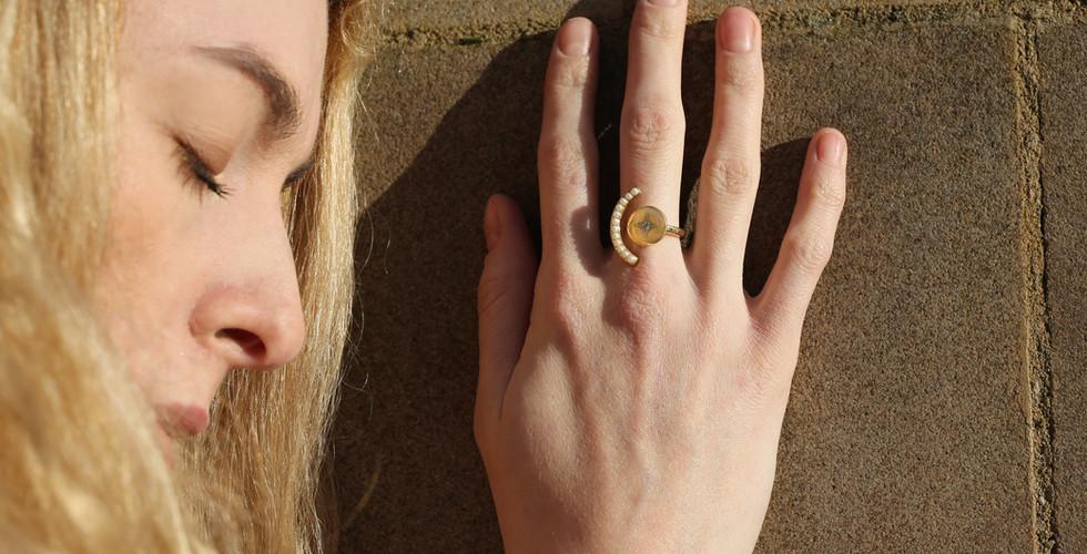 Elaina Pearl Ring | Adjustable Ring | Designer Ring