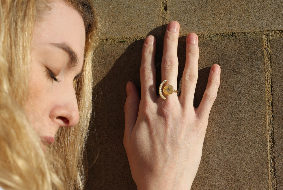 Elaina Pearl Ring | Adjustable Ring | Designer Ring