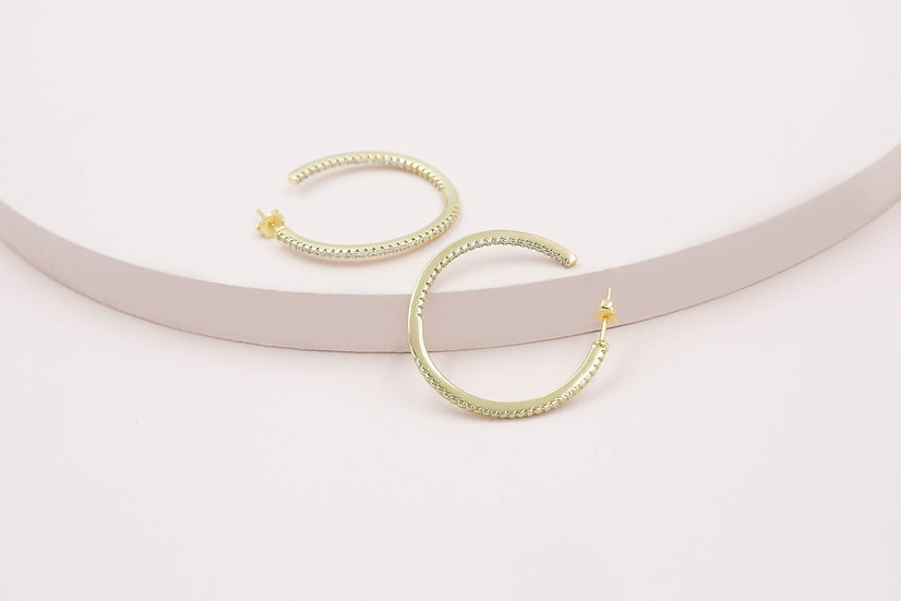 Amou 35mm Sparkle Hoops in Gold