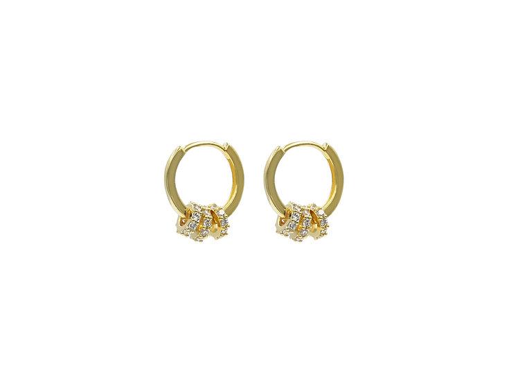 Lux Three Huggie Hoop Earrings in Gold