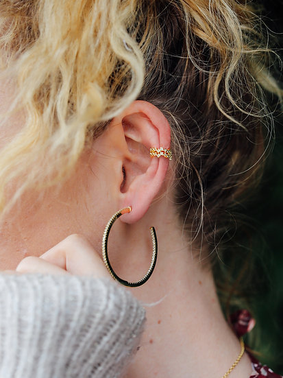 Amoux 45mm Sparkle Hoops in Gold