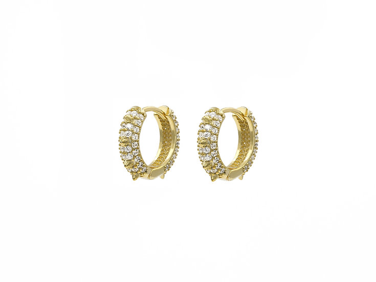 9mm Round Rivets Hoops in Gold