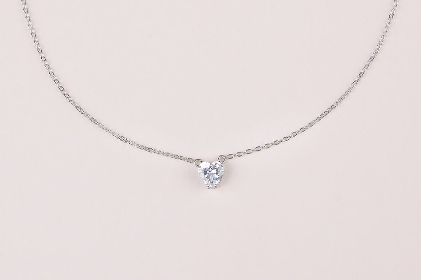 Josee Heart Necklace in Silver