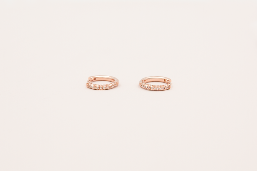 Aviana Three Rows Pave Huggies in Rose Gold