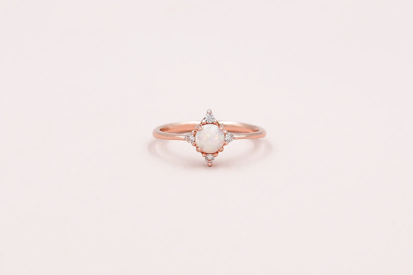 Abella Opal Ring in Rose Gold