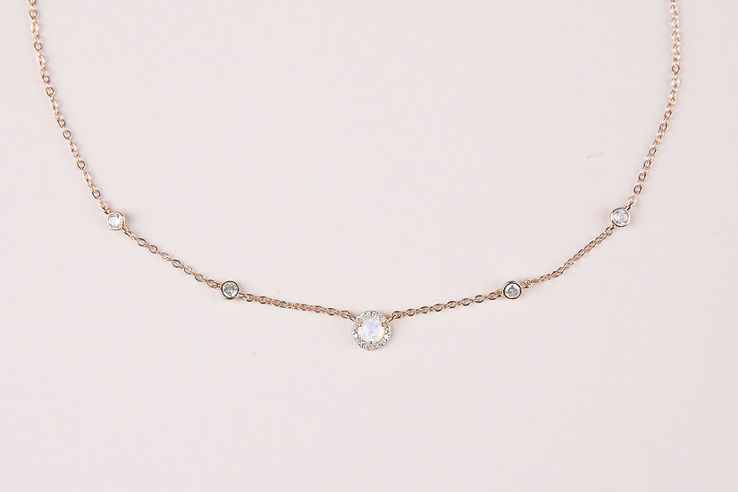 Janvier Opal Necklace in Rose Gold