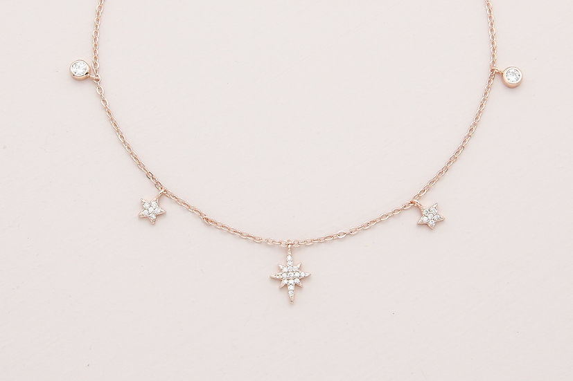 Rema Starry Necklace in Rose Gold
