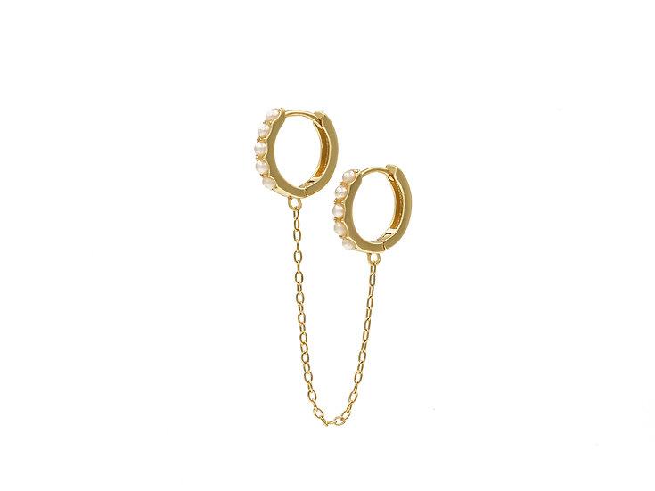Double Chain Pearl Huggie Earrings in Gold