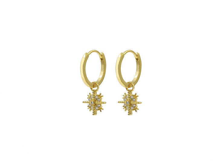 Celia Cross Snowflake Hoop Earrings in Gold
