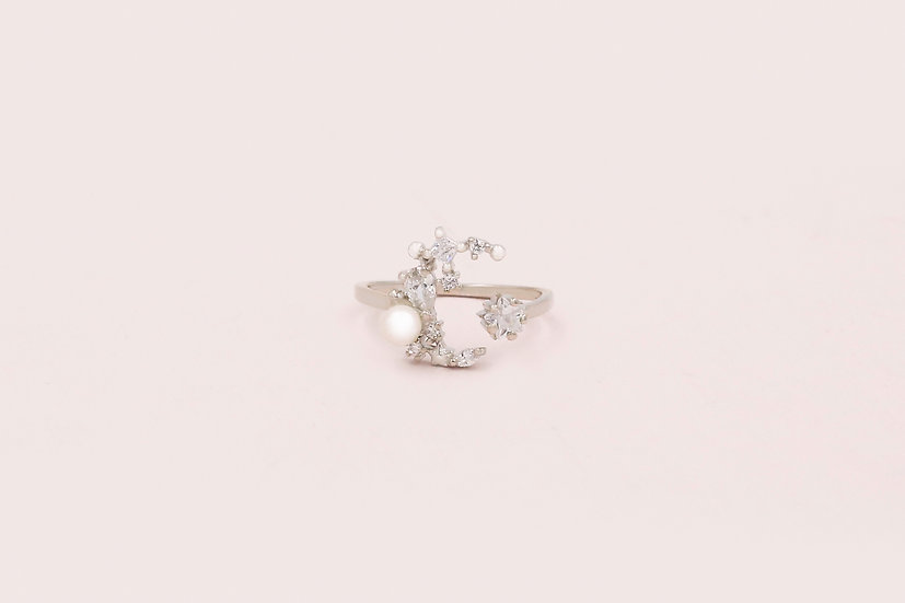 Aerin Cresent Moon & Star Ring in Silver
