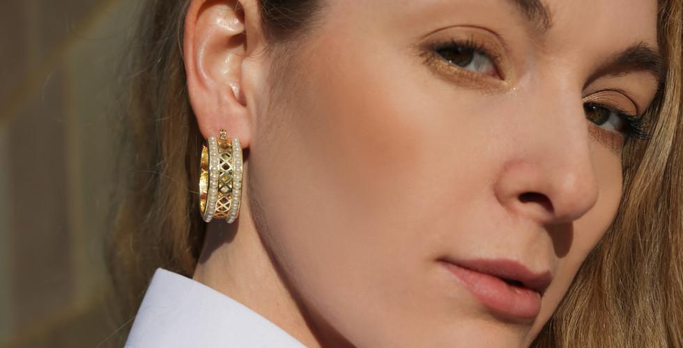 Zeta Pearl Chunky Hoops | Gold Chunky Hoops | Designer Earrings
