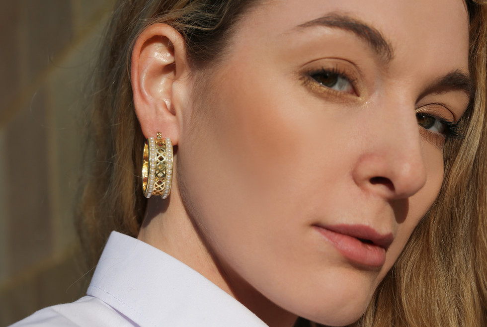 Zeta Pearl Chunky Hoops | Gold Chunky Hoops | Designer Earrings