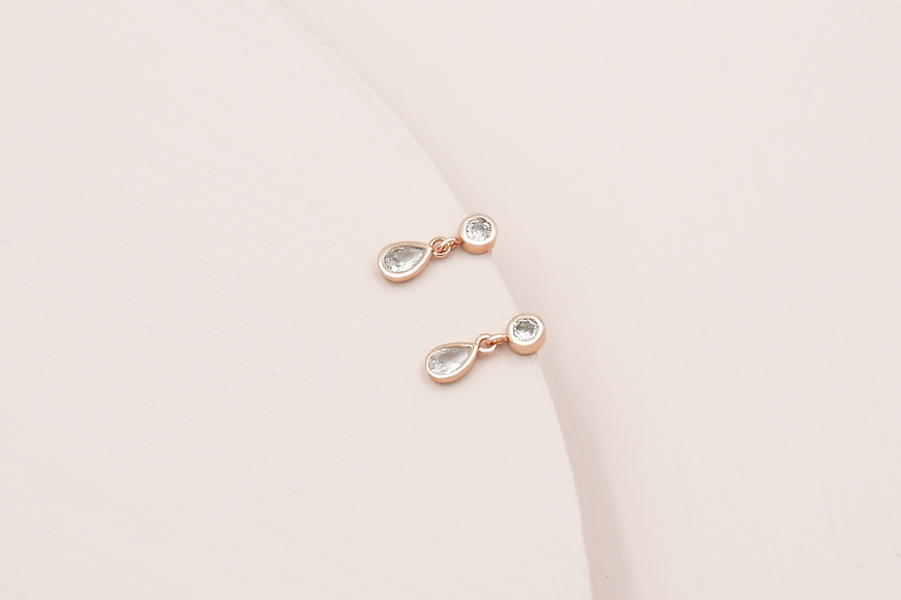 Clara Teardrop Studs in Rose Gold