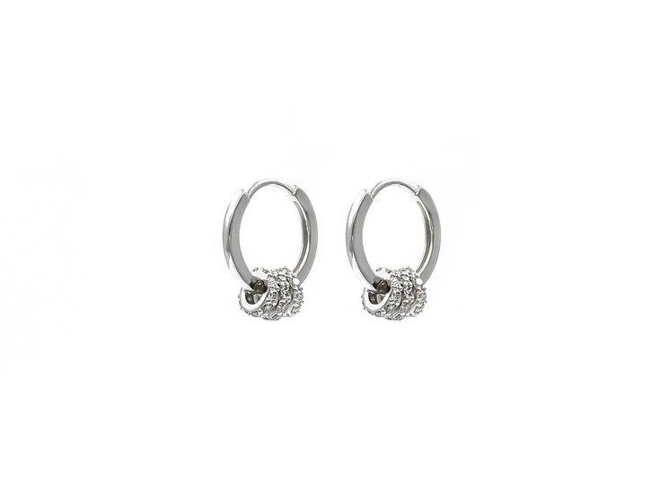 Lux Three Huggie Hoop Earrings in Silver